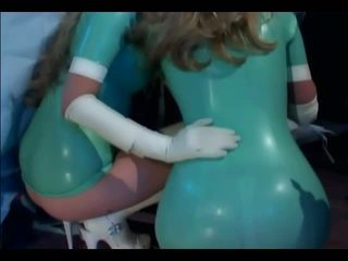 FFM threesome with nurses in latex lingerie and gl