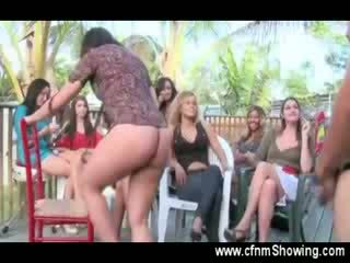 Horny hostess shows the crowd how its done with the Naked guys