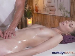 Massage Rooms Stunning girl with hairy pussy gets a good hard fucking