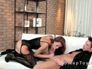 Beauty With Strap On Fucks Guy