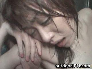 Akari hoshino japoniškas lauke sunkus