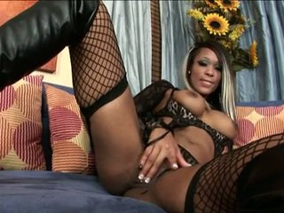 Nasty Netted Hottie Miley Ann Thumps A Hard Toy In Her Twat And Enjoys It