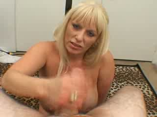 Mature big tits blonde blowjob stiff cock