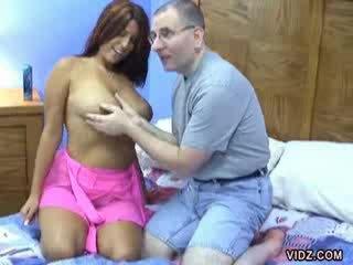Lavender Rayne fucks rides white man's Cock