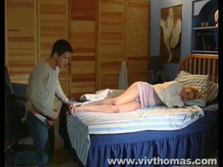 ejaculação, pés, adormecido