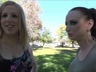 Blonde shemale bombshell Juliette Stray rips her female fuck buddies pussy