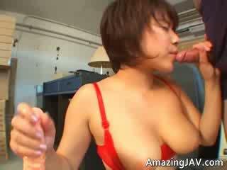 Sexy oriental Red head having fun sucking