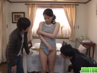 Horny japanese mature miki sato in threesome.