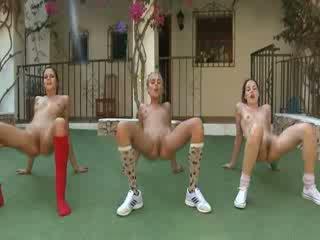 Trio nuda lesbos making aerobica