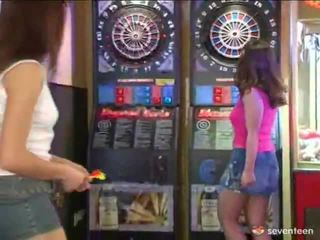 Lezzy Teens Playing Darts