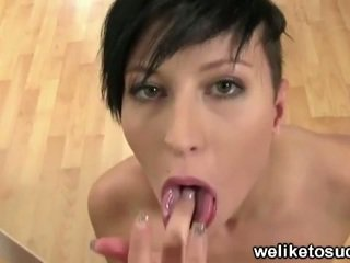Punk girl nicoletta sucks cock for facial