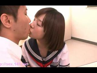 brunette, japanese, blowjob, schoolgirl