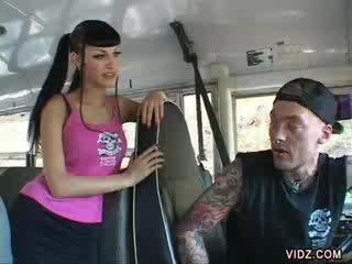 Punk bus driver score on Rachel Rotten's cunt