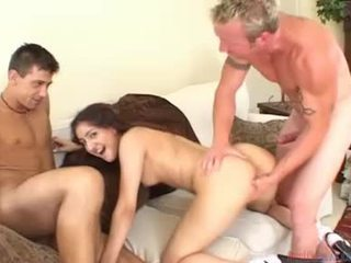 Cute Latina Acquires Her Face Creamed By 2 Jocks After Fucking