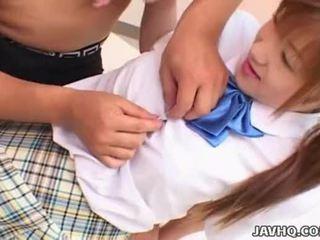 Japanes teen in school uniform gets fucked Uncensored
