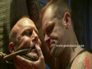 Arena of sins hold gay bdsm party with pair of pervert masters giving a rough time to sex slaves