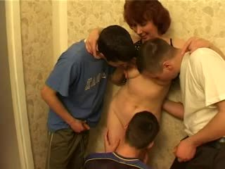 Mom & many guys have a sex at kitchen