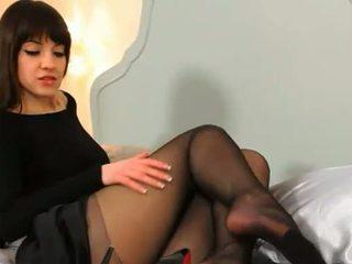 Blackhair student teasing on the bed