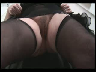 bigtit hairy granny in Panty Hose panty and upskirt tease showing off Pretty plump hairy cunt