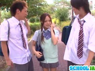 J schoolgirls: yukina sucks dicks and gets nailed in a 3 adam
