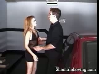 Two cute shemales seduce each other before they get fucked by a horny guy