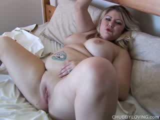 Beautiful busty BBW fucks her wet pussy