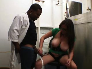 Hot Babe With Thick Glasses And Massive Tits Enjoys A Hard Interracial Fuck
