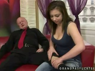 Very old grandpa fucks young girl