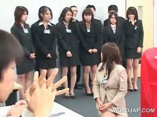 Asian sex seminar with teen babes giving BJs