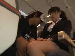 Gaja mulher apalpada e fodido em um negócio airliner