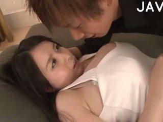 ładny brunetka, japoński jakość, hq wielkie cycki