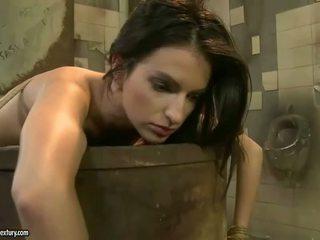 Mistress punishing hot beauty in public toilet