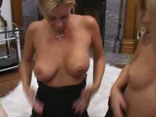 Sexy blondes blow a guy cock