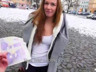 Czech slut Dominika flashes her tits