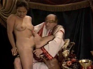 亚洲人 年轻 女孩 铸件 做 由 旧的 & 脂肪 爷爷