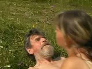 Homeless old freak screwing sexy girl cunt on glade