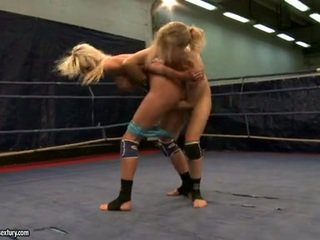 Laura Crystal And Michelle Dampened Fighting Stripped