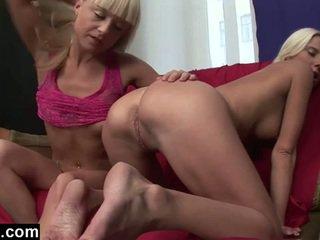 Blonde lesbians love to lick ass