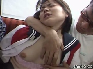 Japanese teen in school uniform has threesome