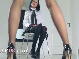Hot schoolgirls tease herself in pants