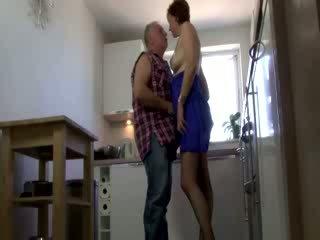 Mature lady pleasures older male
