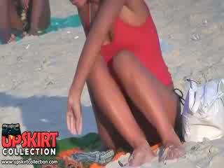 Guy spied the Pretty well shaped body of long legged bimbo in the hot micro bikini
