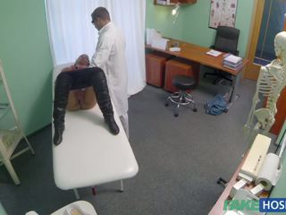 Doctor examinates her pussy with a dick.
