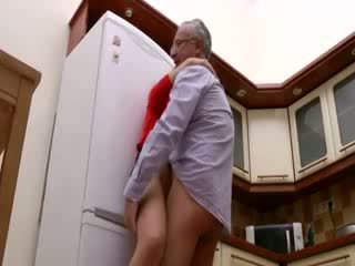 slut gets pounded up against fridge by old guy going out of his way