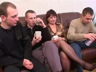 Mom with hairy pubis saggy boobs & 3 guys