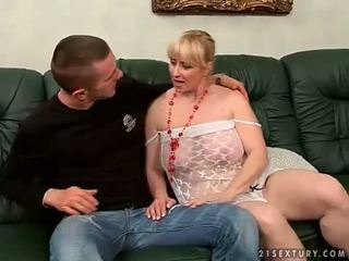 Hot chubby grandma getting fucked by young man
