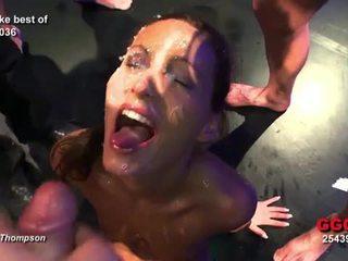 German slut completely face covered in cum