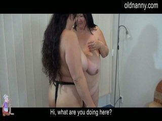 Elder âgé striptease et lesbie porno