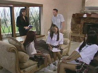 Seksi rumah panggilan guru pribadi fucks oleh kejutan visitor