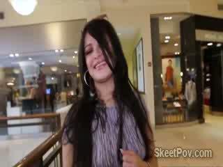 Lovely slut Sadine Godiva meets her fuck partner in the mall